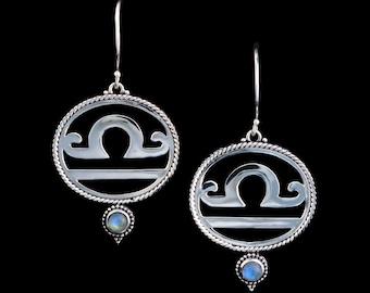 Sterling Silver Libra Earrings: LIBRA