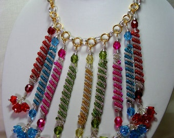 Multi-Colour Flower and Coil Necklace