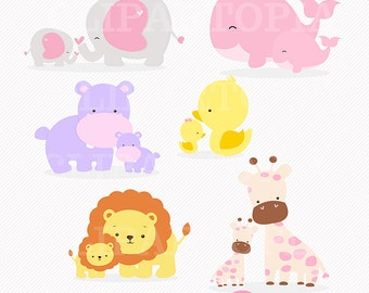 Mom and Baby Animal digital clipart / elephant, giraffe, lion, whale, duck, hippo Clip art for personal and commercial use