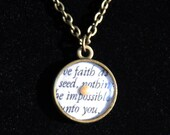 Faith of a Mustard Seed Antique Necklace with Matthew 17 Quote