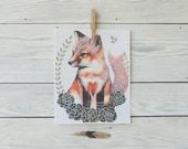 Fox Kit in Succulent Patch - Archival PRINT- 8x10 Modern Rustic Woodland Art