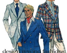 1970s MENS SUIT JACKET Pattern Vogue 9670 Mens Single, Double Breasted Suit Grooms Jacket Chest Size 46 UNCuT Plus Size Mens Sewing Patterns