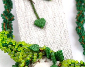 Green Woman, Gia, and Copper Beaded Necklace and Earring Set
