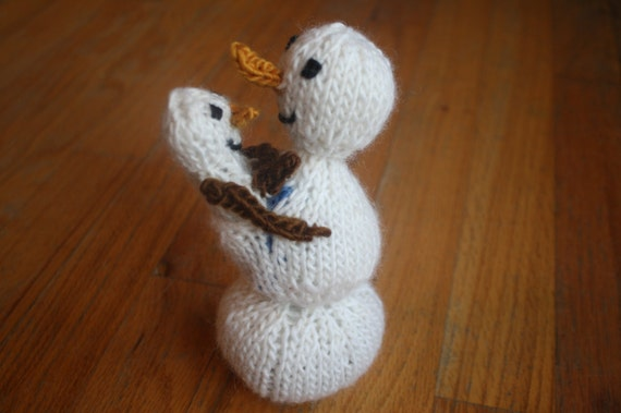 Ready to Ship Hand Knitted Baby Wearing White Frost Snowman Doll with Carrot Nose and stick arms