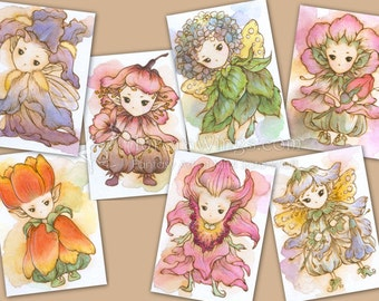 Original Flower Sprite ACEO Commission - Free Shipping to US - Fantasy Flower Fairy Illustration - by Mitzi Sato-Wiuff