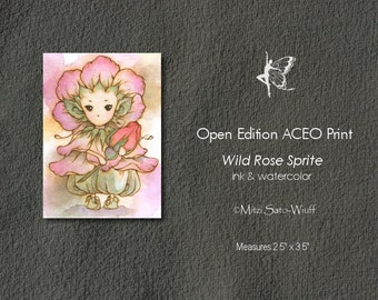 Open Edition ACEO Print - Whimsical Wild Rose Sprite in Pink Holding a Bud - Cute Little Flower Fairy - Fantasy Art by Mitzi Sato-Wiuff