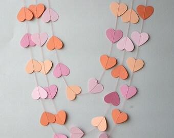 Salmon peach & pink wedding garland, Heart paper garland,  Wedding decorations, Peach wedding, Wedding decor, Bridal shower, KCO-3038