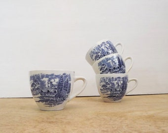 Wedgewood China Collection / Set - Countryside Pattern - Set of Four (4) Teacups - Blue - Transferware - English Ironstone Vintage