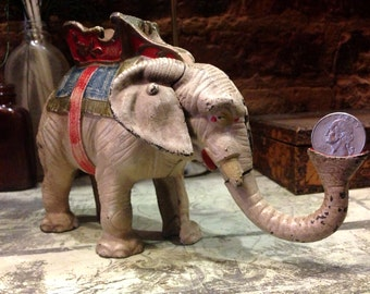 Antique Hubley Howdah Elephant Mechanical Cast Iron Bank