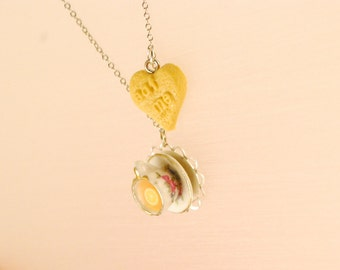 tea party necklace - alice in wonderland - food jewelry