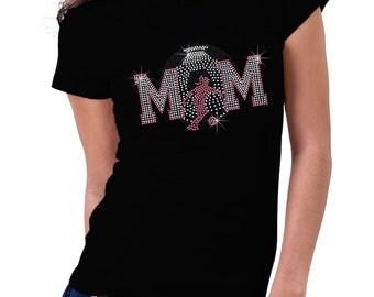 Faded Soccer Girl Mom Rhinestone Shirt