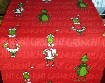 GRINCH FABRIC Table RUNNeR 39X11 Red Grinch Fabric Same on Both Sides BEAUTiFIL GRiNCHMaS Table DECoR or GiFT! Designs by Sugarbear