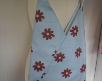 Light Blue with brown flowers triangular shoulder bag. Triangle bag. Item No. LDC0112