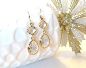 Clear Crystal Earrings Gold Earrings Simple Bridal Jewelry Gold Bridesmaid Earrings Crystal Bridesmaid Jewelry Gold Jewelry Shimmer Sparkle
