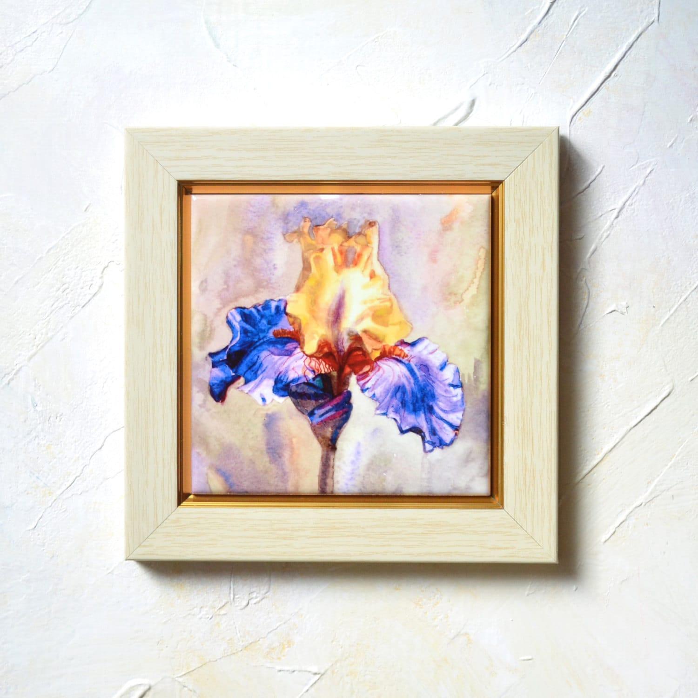 Iris watercolor hand painted ceramic tile wall art iris - Hand painted ceramic tile ...