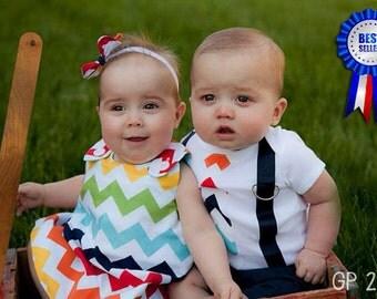Brother Sister Boy Girl Twin  - Charlotte & Chevron[ALTOCC]