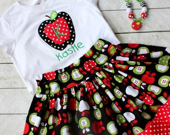 girls fall outfit apple skirt apple skirt set apple outfit apple shirt apple top red apple green apple fall outfit for toddler polka dot