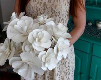 White Paper Flower Wedding Bouquet, Custom Design and Color