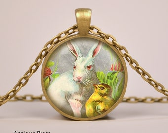 Easter Bunny and Chick Pendant Necklace or Keyring Glass Art Print Jewelry Charm Gifts for Her or Him Vintage drawing rabbit egg chicken