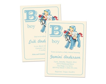 Digital DIY Vintage Baby Boy Shower Invitation / Baby Announcement / Baby Card / editable PDF / add your own text then print it