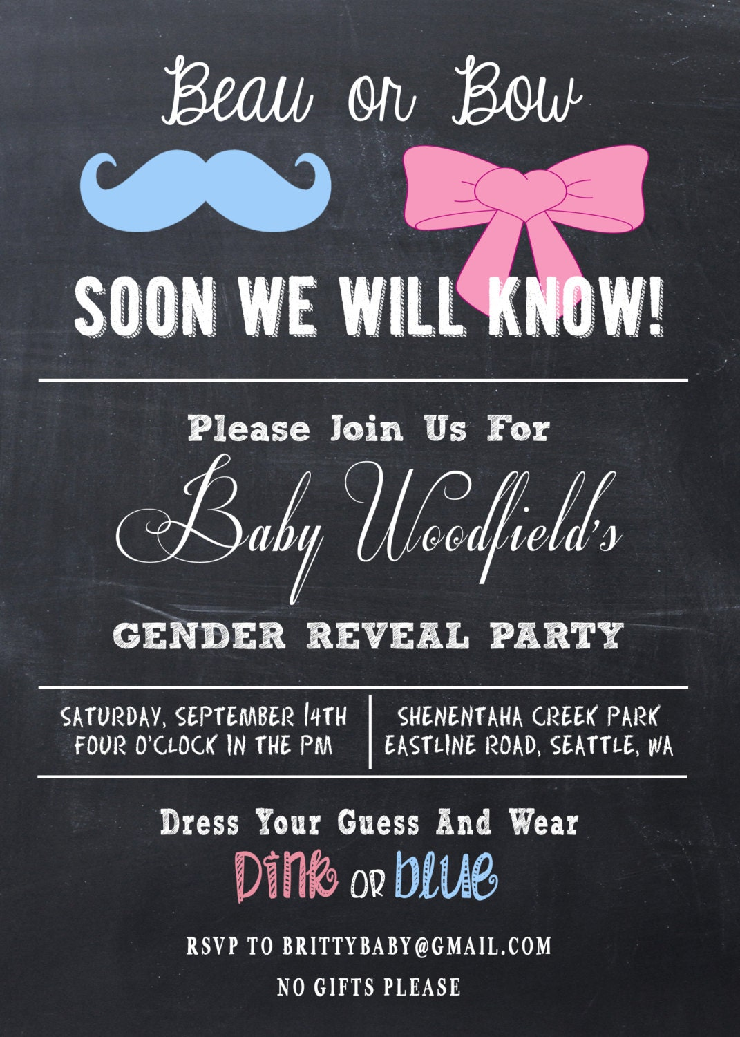 This is a picture of Striking Free Printable Gender Reveal Party Invitations