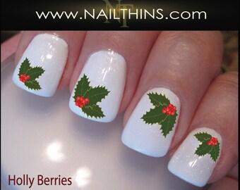 Holly Berries Nail Decals Holiday Holly Nail Design, Nail Art