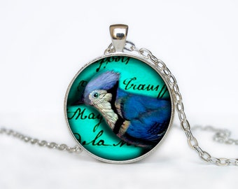 Bird necklace Vintage Bird pendant Bird jewelry turquoise red aqua green colorful bird