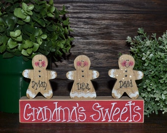 Gingerbread Decor Personalized Christmas Gingerbread Family Block Set-Personalized Grandma Gift Christmas Decoration Personalized Holiday