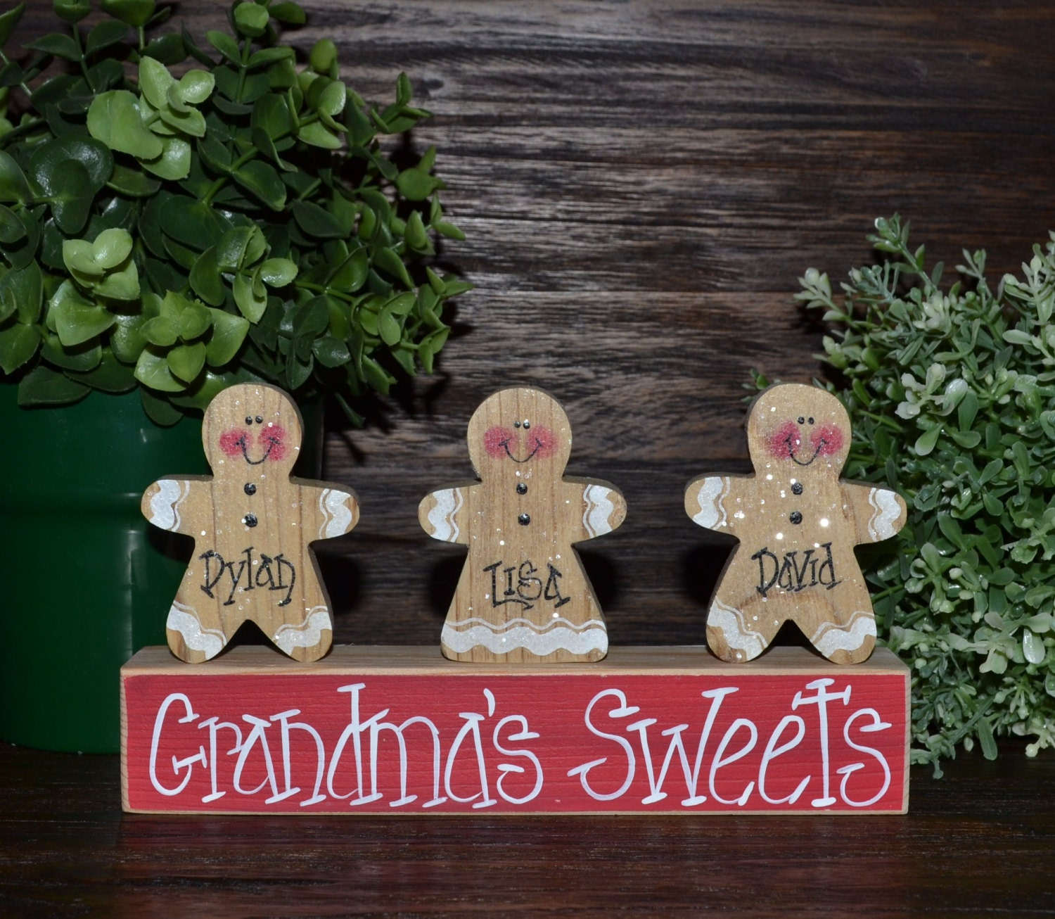 Gingerbread Decor Personalized Christmas Gingerbread Family