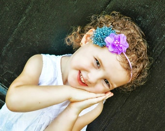 Grey Lilac Headband, Lilac Baby Headband, Gray Flower Headband, Spring Headband, Polka Dot Headband, Newborn Photo Prop, Baby Shower Gift
