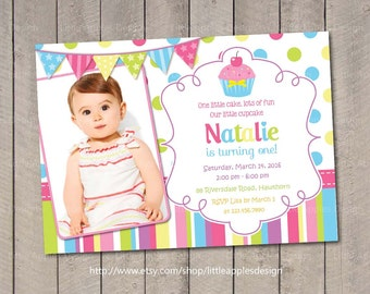 Photo Cupcake Invitation / Cupcake Invitation / Cupcake Invite / 1st Birthday Cupcake Invitation / Cupcake Printable / Cupcake Birthday