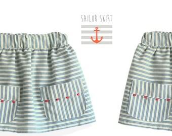 Sailor SKIRT pattern - girls toddler sewing pdf skirt pattern - 6 months to 9 years