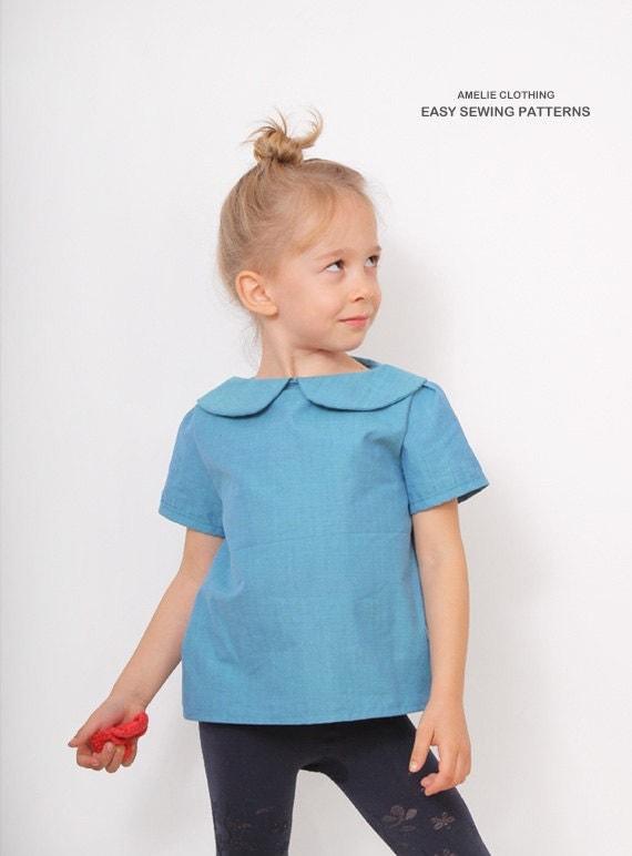 Blue blouse pdf pattern peter pan collar blouse sewing for Peter pan shirt pattern