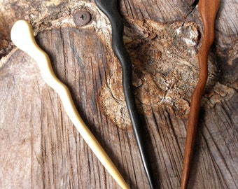 1) Ebony (1) Rosewood (1) Yellow Teak 6 Inch Handmade Spiral Hair Sticks Pics Pins with Undulations