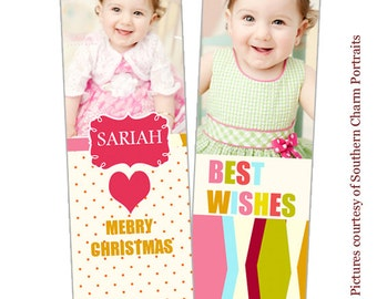 INSTANT DOWNLOAD - Holiday Bookmark photoshop templates - CA079-2
