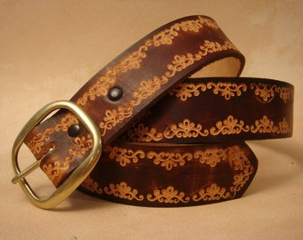 """Tooled Leather Belt - Custom Leather Belt - Personalized Leather Belt - Brown 1-1/2"""" SND Pattern"""