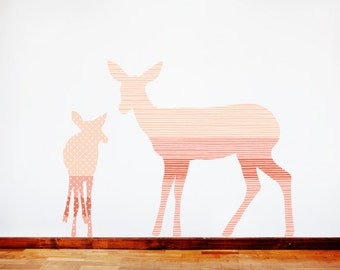 Deer Wall Decals - Deer Fabric Wall Decals Coral