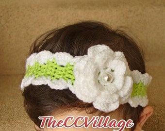 Green crochet baby girl headband , handmade white flower girl hairband