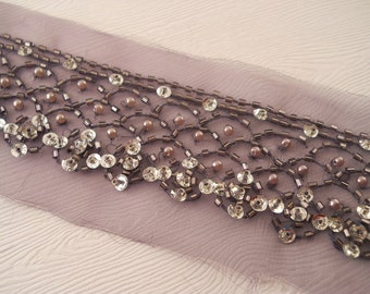 LACE:  Lavender beaded trim, 2 1/2 inches wide.  One yard.