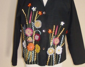 Indigo Moon Artsy Jacket with Embroidery Floral Design/Silk Flowers BOHO Chic Spring Easter