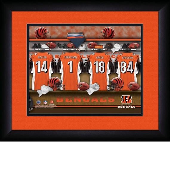 Cincinnati bengals locker room personalized print photo for Bengals bedroom ideas