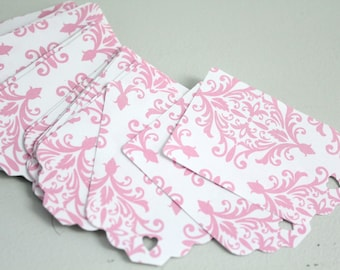 25 Pink damask tags, Wedding favors, Pink flower tags, Victorian wedding, Bridal shower favor, Wishing Tree Tags, Damask wedding tags