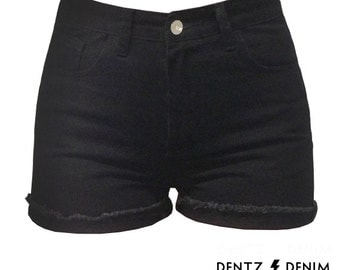 High Waisted Black Denim Shorts - Cuff - Black Jean Shorts - Plus thru Petite Size