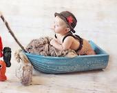 Newborn fishermans crochet fishing outfit