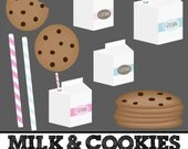 Milk & Cookies Clipart, Milk Box clip art, Chocolate Chip Cookies, Milk Carton, Paper Straws // Commerical Use