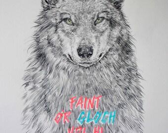 SALE / What's the time Mr Wolf? / Faint o'r gloch ydi hi Mr Blaidd? / Signed print by Niki Pilkington