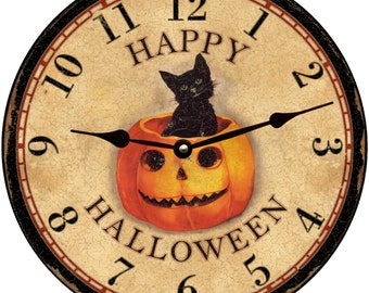 Happy Halloween Wall Clock- Orange and Black Halloween Clock
