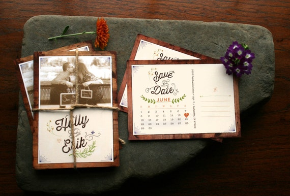 Rustic Save the Date Postcards with Calendar - Woodsy, Vintage, or Spring Wedding Save the Date Cards - Printable - Hadley