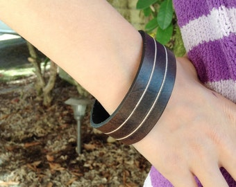 1 inch wide, carved dark brown leather bracelet - unisex for men and women