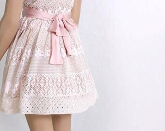 Plus Size Party /peach pink / bridesmaid / party/romantic / cotton lace dress